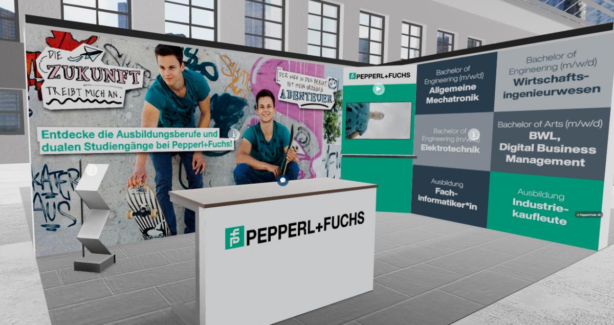 Alles digital: Der Pepperl+Fuchs Stand auf der virtuellen Ausbildungsmesse der IHK
